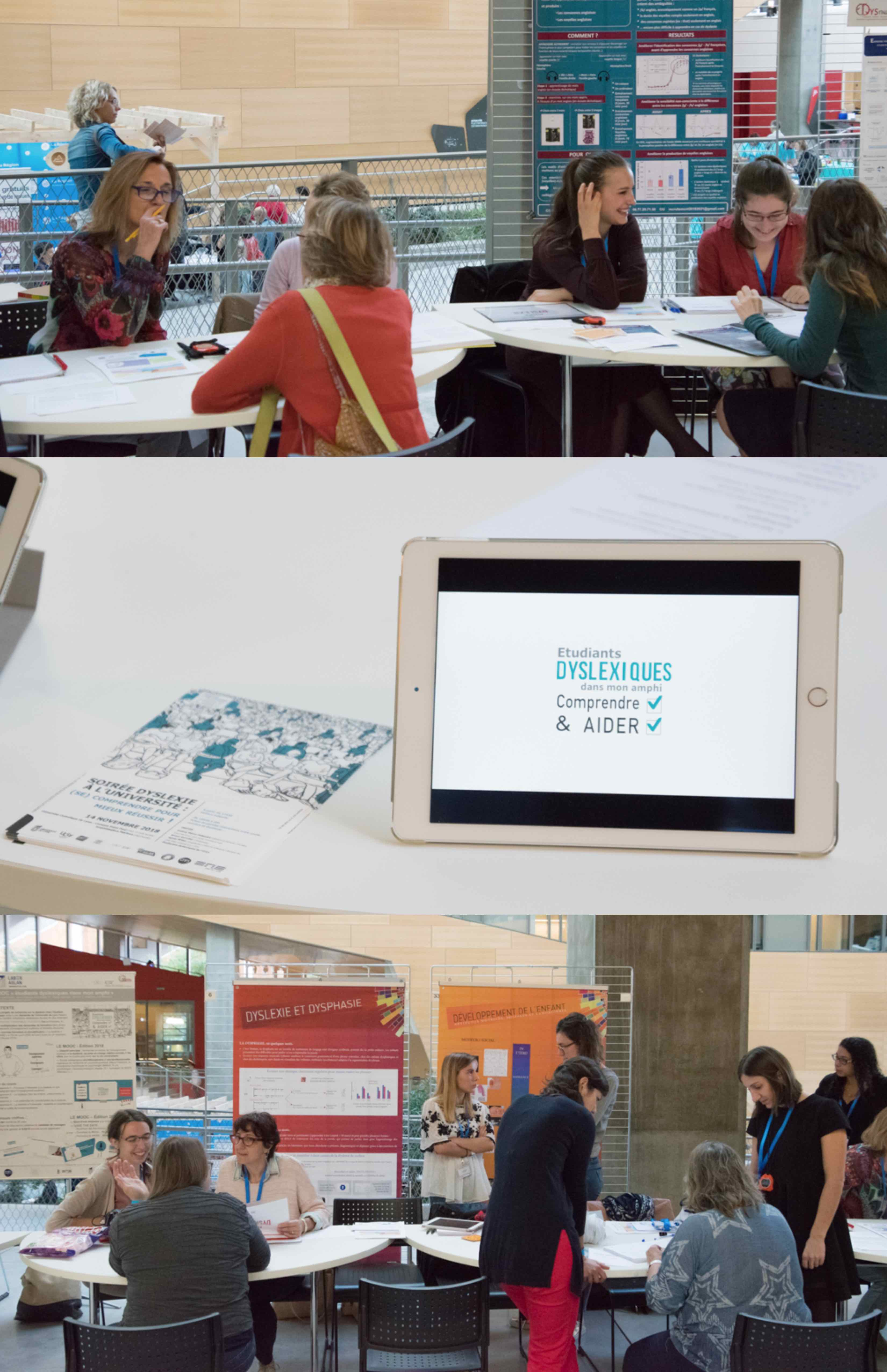 """Stand des laboratoires DDL et ICAR présentant le MOOC et l'atelier """"Parcours des Dys"""""""