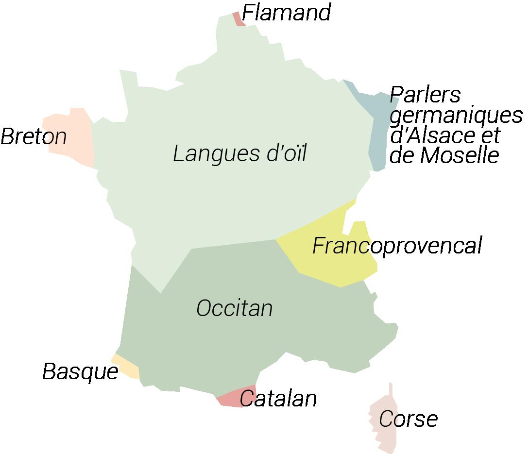 Carte des langues régionales en France métropolitaine