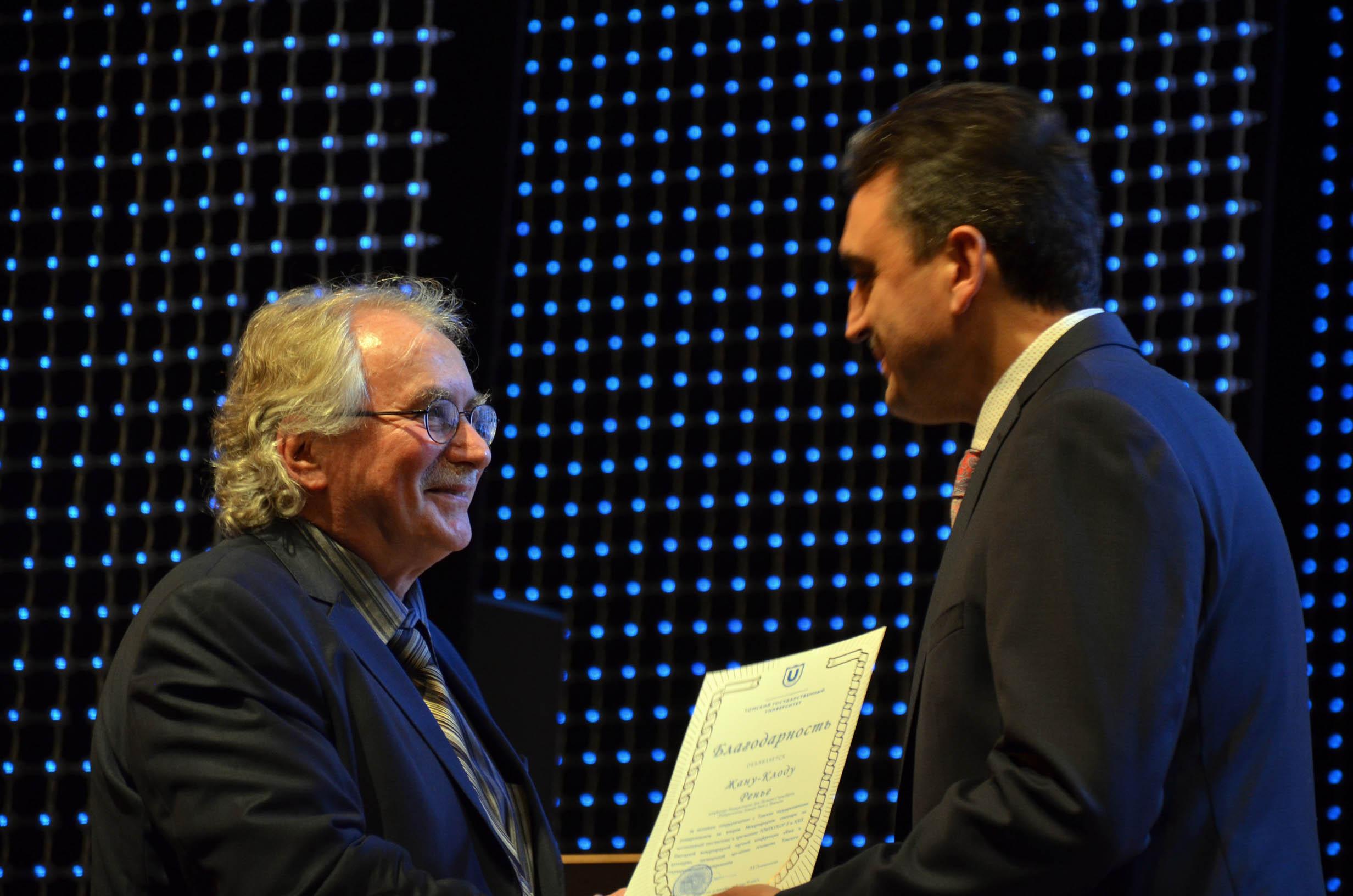 Jean-Claude Régnier reçoit la médaille de l'Université d'Etat de Tomsk (Russie)